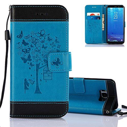 Etui Coque S8 Bleu et Noir, Aeeque Motif Fille et Arbre de Papillons Housse en Cuir Ultra-mince avec Flip Support Languette Aimantée Porte-carte Portefeuille Protection pour Samsung Galaxy S8 G950