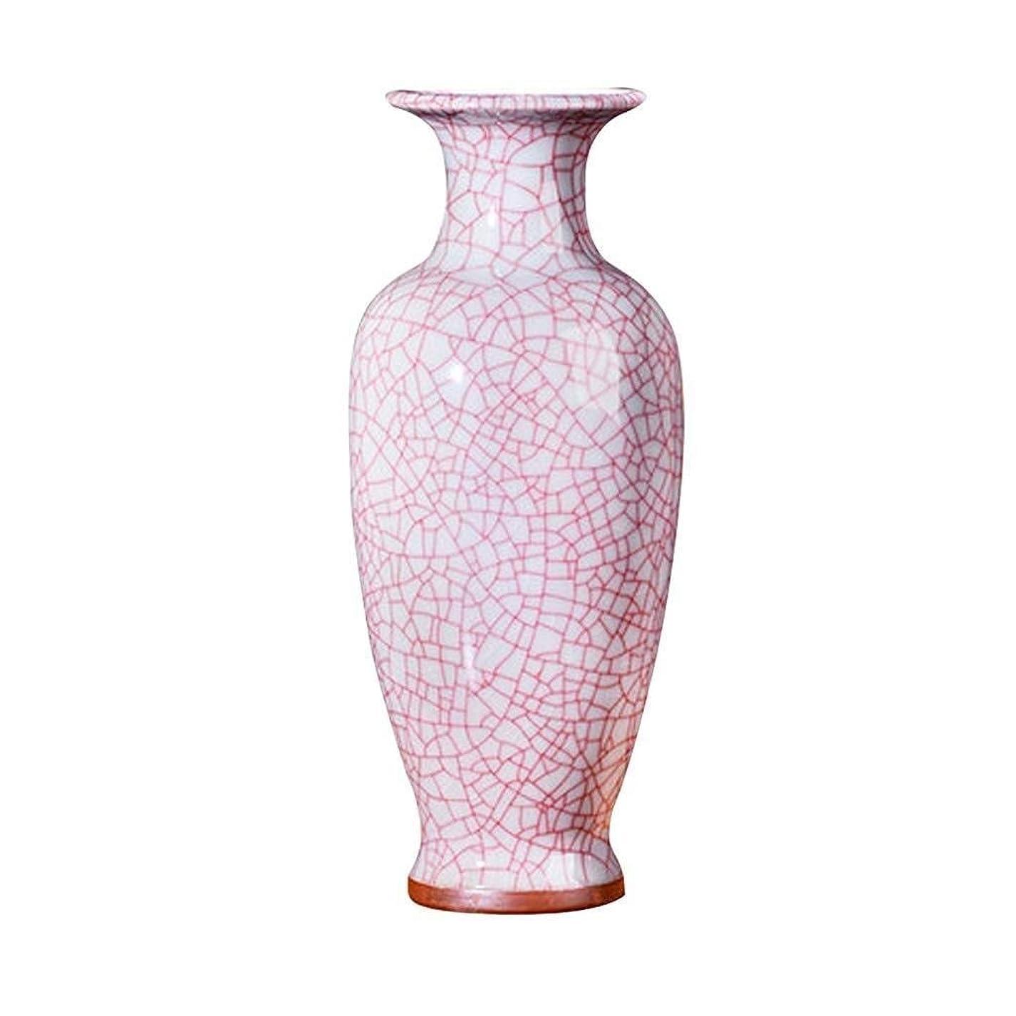 隔離台風文明化花瓶 中国氷が干し人工花のアレンジメント、家庭リビングルームのテレビキャビネットディナー表陶磁器の装飾装飾工芸ギフト、12x34x10cm、ピンクのためのセラミック花瓶を割ます