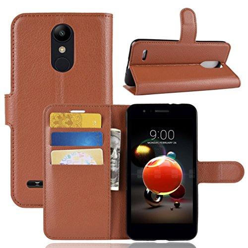 LMFULM® Hülle für LG K9 (5,0 Zoll) PU Leder Magnet Brieftasche Lederhülle Litschi Muster Standfunktion Ledertasche Flip Cover für LG K9 Braun