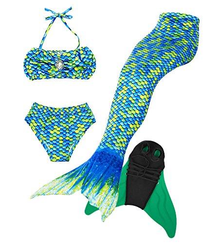 Superstar88 Mädchen Cosplay Kostüm Badebekleidung Meerjungfrau Shell Badeanzug 3pcs Bikini Sets Tolle Geschenksidee ! (140, Grün)