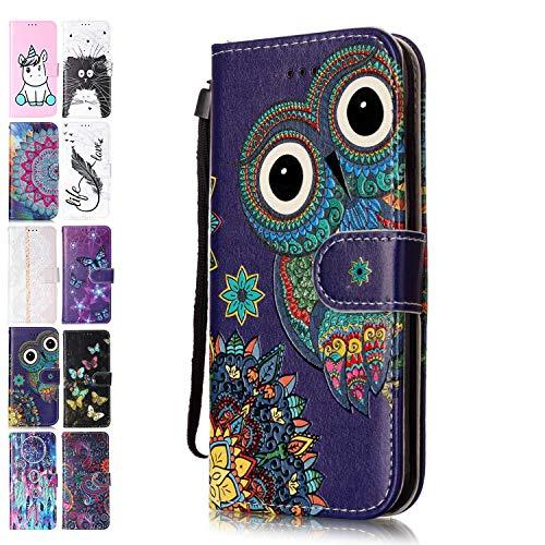 Ancase Lederhülle kompatibel für OnePlus 7 Pro Hülle Eule Muster Handyhülle Flip Hülle Cover Schutzhülle mit Kartenfach Leder Tasche für Mädchen Damen