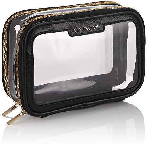 Neceser Maquillaje para Viajar – Bolso Transparente para Avión – Bolsa de Aseo con Cremalleras – Negro y Dorado, Lily England