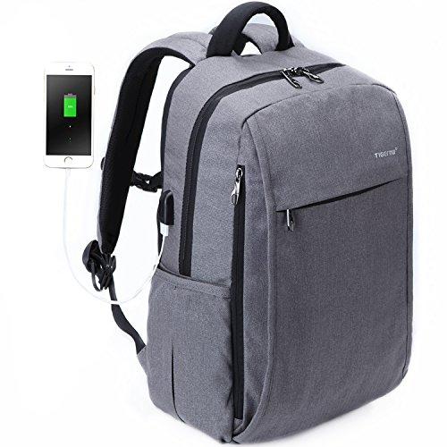 Fubevod Business-Laptop-Rucksack für 15,6 Zoll mit USB-Port leichte Rucksack,Grau