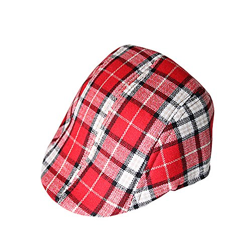 Opromo Toddler Kids Boys Cotton Plaid Berets Tweed Cabbie Flat Cap Peaked Hat-Red White Plaid