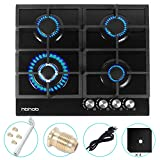 24' inches Gas Cooktop Gas Stove Tempered Glass Built in 4 Burners Gas Stoves Cooktop Stove Burner Cast Iron Grate Stove-Top LPG/NG Dual Fuel Thermocouple Protection and Easy to Clean-Black