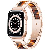Wipalor Resin Stainless Steel Band Compatible with Apple Watch Band 42mm 44mm, Watch Bracelet Rose Gold for iWatch, Men and Women Replacement band for Apple Watch Series 6 5 4 3 2 1 SE (Tortoise Fire)