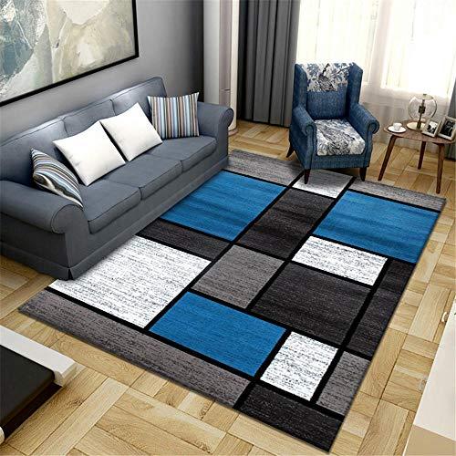 alfombras juveniles habitación Dormitorio alfombra azul clásico rectangular moderno salón alfombra anti-mitón Azul alfombra protectora de suelo 80X160CM alfombras de exterior terraza 2ft 7.5''X5ft 3''