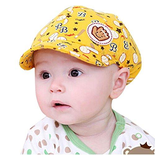 Bébé Enfant Fille Garçon Bande Chapeau de Béret Culminé Casquette de Baseball (Jaune)