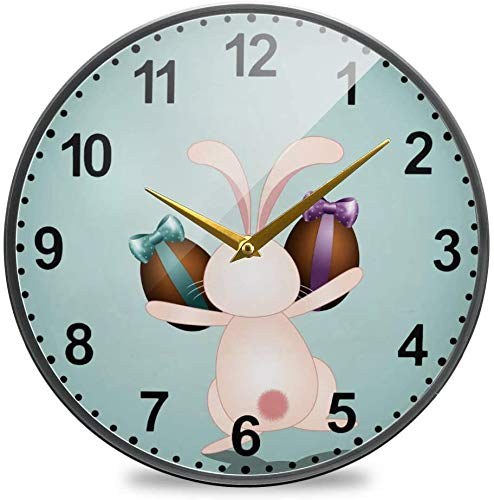 Wall Clock Diameter 9.5 Inch Bunny with Chocolate Eggs for Living Room Decor Non-Ticking Silent for Bathroom Kitchen