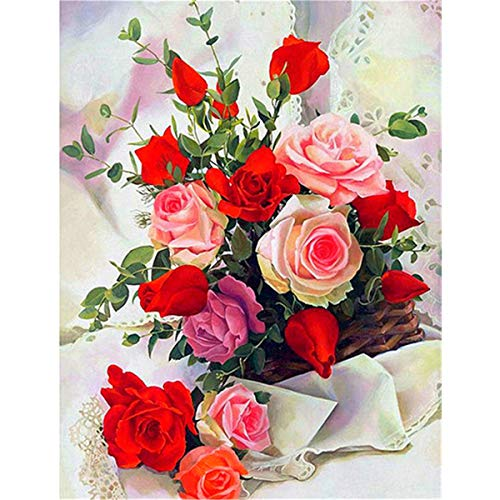 Sunnay Diamond Painting Set,Vase Mit Rosen, 5D Diamant Painting Set Full Stickerei Groß Bilder DIY Diamonds Malerei, 30x40cm