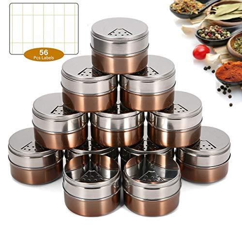 Janolia 12 Botes para Especias, Botes Magnéticas para Condimentos, Acero Inoxidable Anti-Polvo, Barras Magnético por Refrigerador, Ideal para Sal, Pimienta,Hierbas o Especias