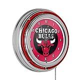 Chicago Bulls NBA Chrome Double Ring Neon Clock