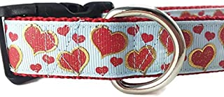 CANINEDESIGN QUALITY DOG COLLARS Valentine Dog Collar, Caninedesign, Hearts, Pink, Blue, 1 inch wide, adjustable, nylon, medium and large