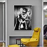 Carteles de pared de inodoro e impresión Mujer con cigarrillo Lienzo de arte pop Impresiones de Canvs en blanco y negro para la decoración de la pared del hogar 30x50cm (12x20in) Sin marco