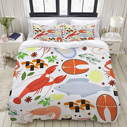 Yaoniii bedding - Duvet Cover Set, Seafood Dill Spices Cooking Culinary Gourmet Steak Restaurant Menu Textures Food Ingredients,3-Piece Comforter Cover Set 220 x 240 cm +2 Pillowcases 50 * 80cm
