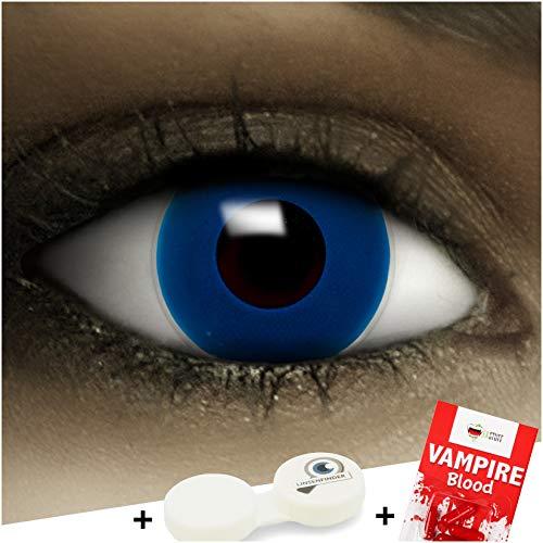 Farbige Kontaktlinsen ohne Stärke Dunkel Blau + Kunstblut Kapseln + Kontaktlinsenbehälter, weich ohne Sehstaerke in blau, 1 Paar Linsen (2 Stück)