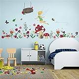 ufengke Pegatinas De Pared Flores Hada Vinilos Adhesivos Pared Casa de Hongo para Dormitorio Habitación Infantiles Bebés Niñas
