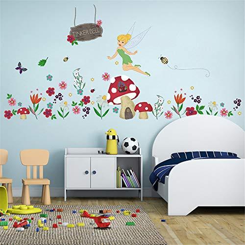 ufengke Adesivi Murali Fata dei Fiori Adesivi Muro Fungo per Bagno per Camerette Bambini Asilo Nido Casa Ragazza