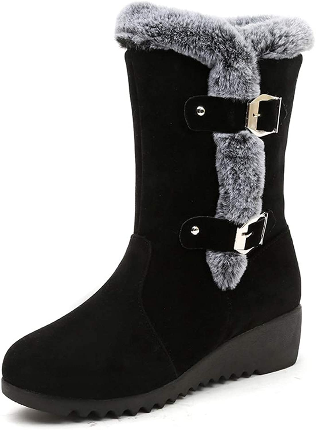 CYBLING Women's Round Toe Low Wedges Short Boots Winter Faux Fur Buckle Waterproof Warm Snow Boots