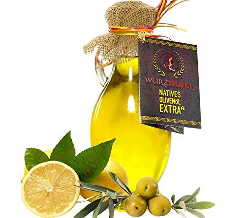 Zitronenöl, Zitronen - Öl aus Nativem, Extra Vergin Olivenöl und ätherischem Zitronenöl aus Italien. Ungefiltert. Kaltgepresst. Traditionelle Herstellung im Familienbetrieb, Griechenland. AMPHORE IRGIZIA - Flasche 250ml.