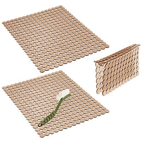mDesign Juego de 3 escurreplatos de plástico – Práctica rejilla para fregadero que lo protege contra arañazos – Protector de fregadero grande para fregaderos dobles – marrón