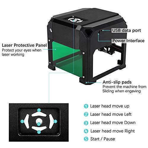 Grabador láser de escritorio de 3 W con área de trabajo de 3.1 x 3.1 pulgadas para principiantes, tallador láser Plug and Play, súper fácil de operar para uso doméstico Mini máquina de bricolaje.