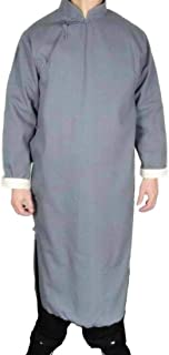 100% Cotton Grey Kung Fu Martial Arts Tai Chi Long Coat Robe XS-XL or Tailor Custom Made + Free Magazine