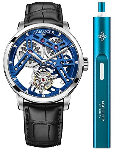 Agelocer メンズ 腕時計 トップブランド 手動巻き トゥールビヨン 機械式腕時計 男性的 ファッション ラグ...