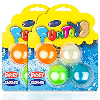 8 Pcs Sticky Stress Balls Glow in The Dark Ceiling Balls Sticky Wall Balls Fun Toy for Kids and Adults Squishy Stress Ball Fidget Toys Anti Stress Sensory Ball Squeeze Toys for Anxiety,Autism