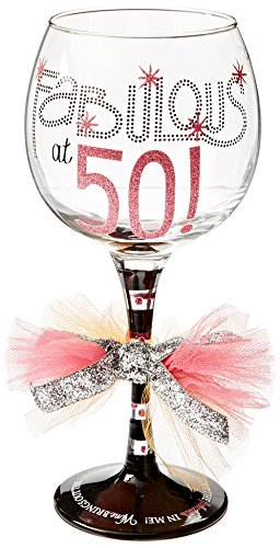 Mud Pie Fabulous at 50 Wine Glass , Multicolor -