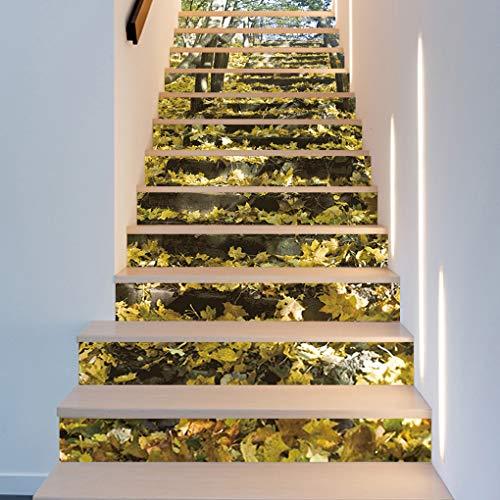 Flushzing 13pcs Fall Forest Muster Bodenrollenwechsler DIY PVC wasserdichte Treppen Aufkleber Boden Schritt Landschaft Hintergrund-Tapete