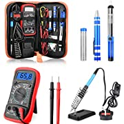 Soldering Iron Kit, ETEPON 60W Adjustable Temperature Electronic Solder Iron Welding Tool Set with ON/Off Switch, Digital Multimeter, Solder Iron Tips, Desoldering Pump, Screwdrive, Solder Wire