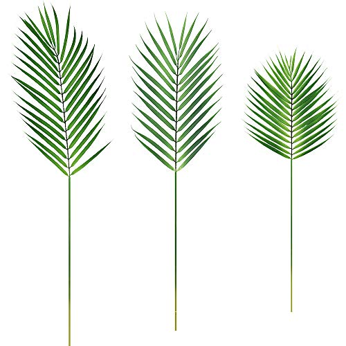 Supla 3 PCS 3 Size Artificial Areca Palm Tropical Leaves Faux Plastic Palm Tree Leaves Faux Monstera Leaves Plastic Palm Leaf Greenery Floral Arrangement Hawaiian Luau Jungle Beach Wedding Party