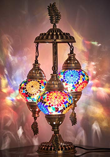 DEMMEX 2020 Stunning 3 Globe Turkish Moroccan Bohemian Table Desk Bedside Night Lamp Light Lampshade with North American Plug & Socket, 21 Inches (Amore)
