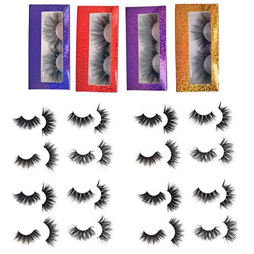 Rainsin 3D Real Mink Lashes 28mm 20 Pairs, 4 styles,Independent Packaging False Eyelashes, Long Luxury 100% Siberian Mink Fur, Natural Eyelashes, Cruelty-Free, Fluffy Fake False Eyelashes, Black