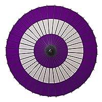 和傘 紙傘 1尺4寸 蛇の目柄 継柄 踊り傘 (紫)
