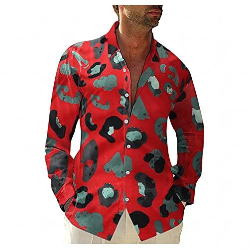 Briskorry Chemise en lin ample à manches longues pour homme - Chemise hawaïenne - T-shirt fin et respirant - Coupe droite - Manches longues - Décontractée - Pour le fitness et le sport, rouge, L
