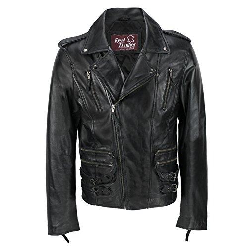 Xposed Chaqueta de piel auténtica para hombre, estilo retro, con cremallera cruzada, estilo vintage, entallada, para motociclista, casual, color negro, color Negro, talla 5X-Large