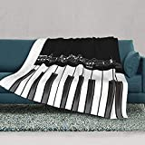 Black and White Piano Muisc Notes Flannel Reversible Sherpa Throw Blanket Fuzzy and Soft Fleece Bed Blanket