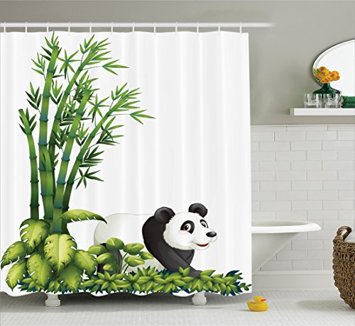 Ambesonne Animal Decor Shower Curtain Set, Happy Panda with Tropical Plants Bamboo Trees Endangered Mammals Cartoon Art, Bathroom Accessories, 69W X 70L inches, Green Black White