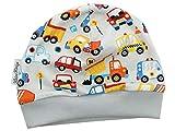 Kleine Könige Mütze Baby Jungen Beanie · Mitwachs-Funktion · Modell Autos Happy Cars hellgrau · Ökotex 100 Zertifiziert · Größen 50/56