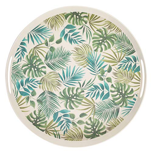 CAMBRIDGE CM06074 Polynesia Large Round Reusable Tray with Handles, 38 cm | Perfect for Serving Drinks At Parties, Bamboo Fiber Mix, 0.9Kg