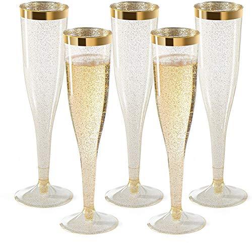 Prefdo Lot de 30 flûtes à champagne jetables en plastique avec paillettes dorées et bord doré pour mariage, fête, cocktail, célébration (184,3 g)