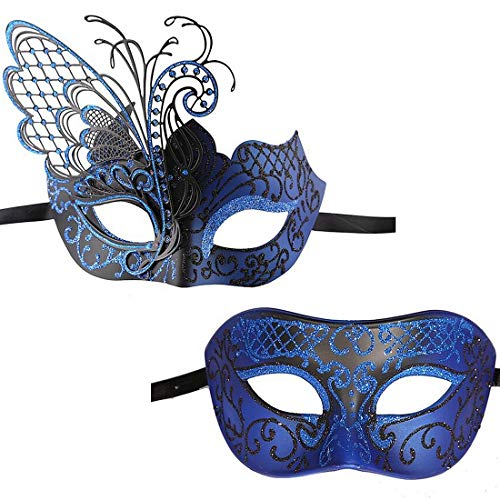 Xvevina Couples Pair Mardi Gras Venetian Masquerade Masks Set Party Costume Accessory (Blue Black Couples), Large