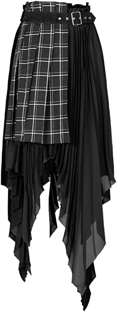 Punk Rave Women's Punk Dark Stitched Fake Two Pieces Plaid Skirt Chiffon Asymmetric Hem High Waist Daily Long Skirts