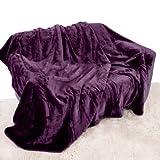 Lila Aubergine Überwurf, Tagesdecke, weiches Plüsch, 200 x 240 cm, geeignet für King Size Bett oder 2/3er Sofa Schlafsofa Tischläufer, Tagesdecke, Kuscheldecke von Quality Linen and Towels
