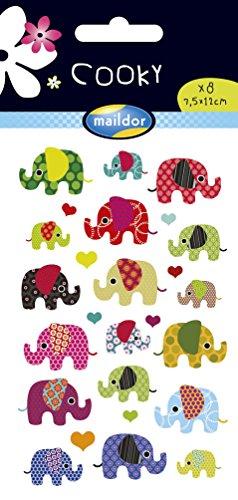Maildor 560372C Packung mit Stickers Cooky 3D (1 Bogen, 7,5 x 12 cm, ideal zum Dekorieren, Sammeln oder Verschenken, Elefanten) 1 Pack