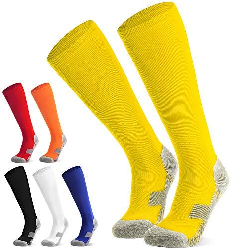 Fußballsocken Stutzen Kinder Jugendliche Socken Fußball Strümpfe - Sportsocken Trainingssocke Sockenstutzen - für Fußball, Laufen, Training (Gelb XL)