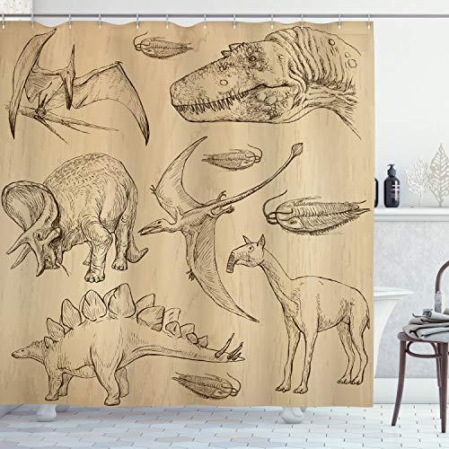 ABAKUHAUS velociraptor Douchegordijn, Vintage Schets Dieren, stoffen badkamerdecoratieset met haakjes, 175 x 180 cm, Sand Brown
