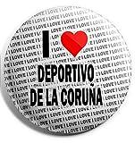 Pin grande con texto'I Love Deportivo Da La Coruna', 75 mm, regalo de cumpleaños, Navidad, relleno de calcetín